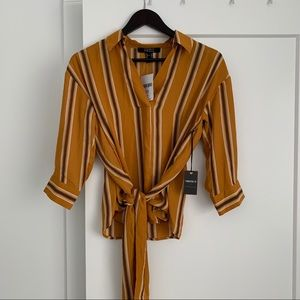 Forever 21 Mustard Wrap Blouse. NWT